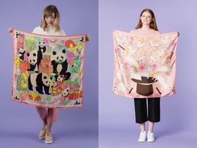 んきゃぁあわえええ♡ ファンシーな動物やお花のイラストをそのまんまスカーフにしちゃいました♪
