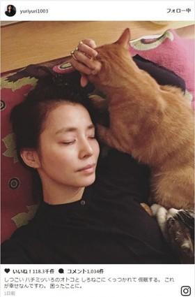 石田ゆり子、愛猫たちに囲まれ睡眠「これが幸せなんですわ」