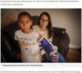 ギプス装着の娘にTシャツを着せて登校させた母、学校から服装規定に反すると言われ激怒(英)